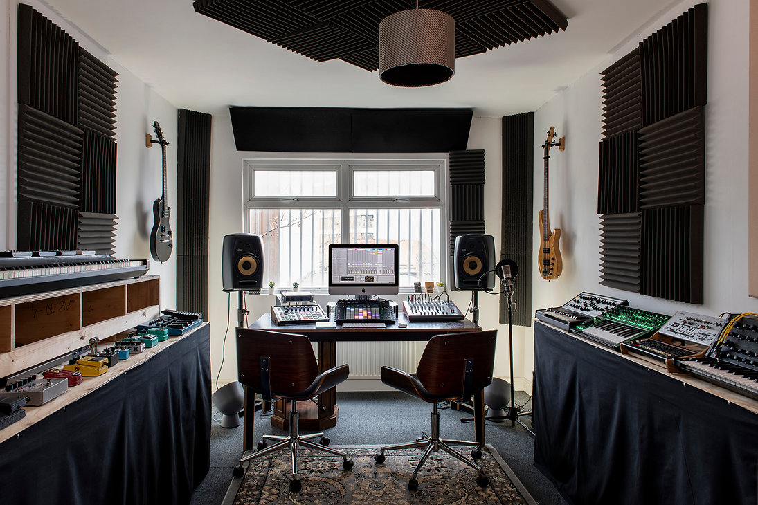 Music Studio, guitars, ableton, moog, roland, synthesizer
