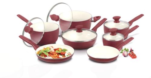 Original Green Pan Rio Healthy Ceramic Nonstick 12 Pc Cookware Set ~ Burgundy