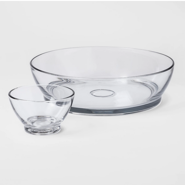Anchor Hocking Madison Clear Glass 2 pc Chip And Dip