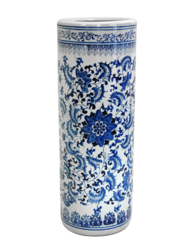 Chinese Handmade Porcelain 24-inch Oriental Blue and White Floral Umbrella Stand