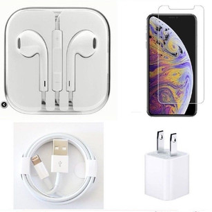 iPhone 6P 7P 8P Tempered GLASS Earpods Wall Charger Lightning Cable