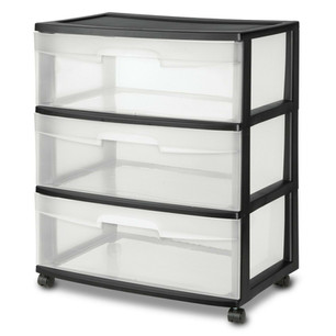 2x 3 Drawer Wide Organizer Cart Plastic Storage Container Office Rolling Bin Box