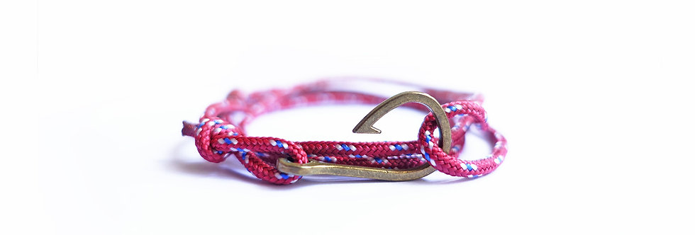 Mini Heather Rope Brass Fish Hook Bracelet