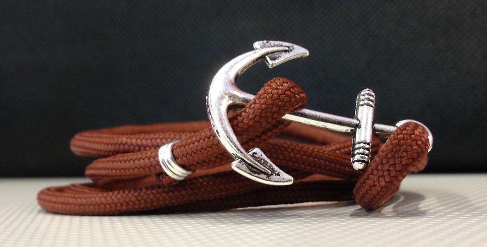 Dark Sienna Rope Silver Anchor Bracelet