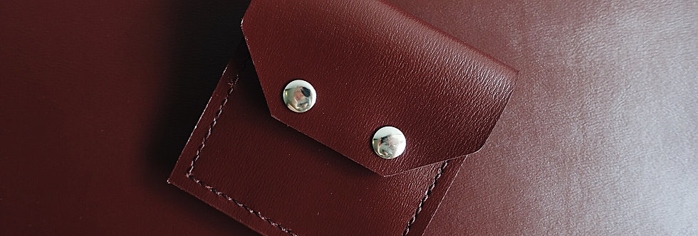 Oxblood Cowhide Coin Pouch