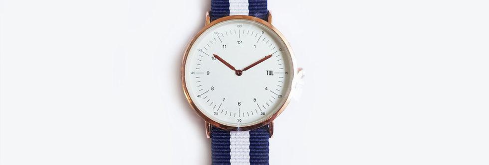 Classic IWEARTUL White Face Blue Strap Watch