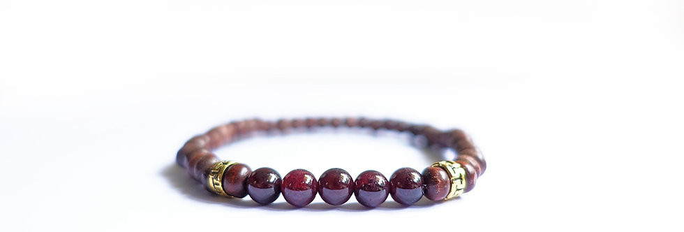 Wood Boho Oxblood Bead Bracelet