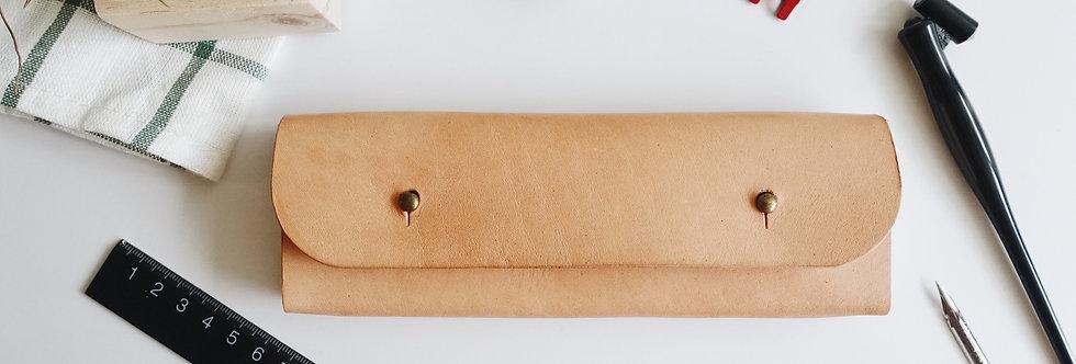 Veg Tanned Cowhide Wood Pencil Case
