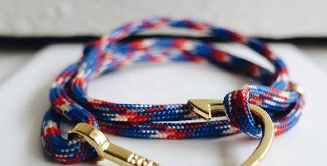 Nautical Rope Gold Fish Hook Bracelet