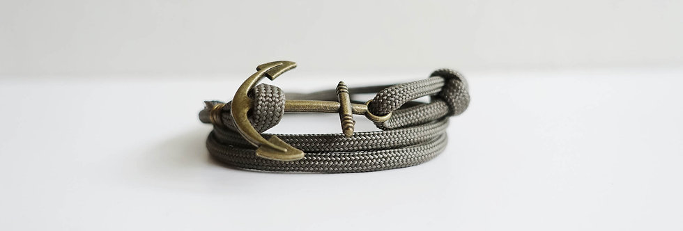 Military Green Rope Brass Anchor Bracelet