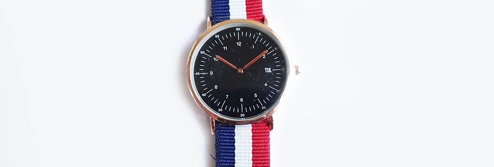 Classic IWEARTUL Black Face Nautical Strap Watch