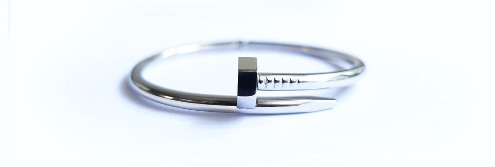Silver Chrome Hexa Nail Bracelet