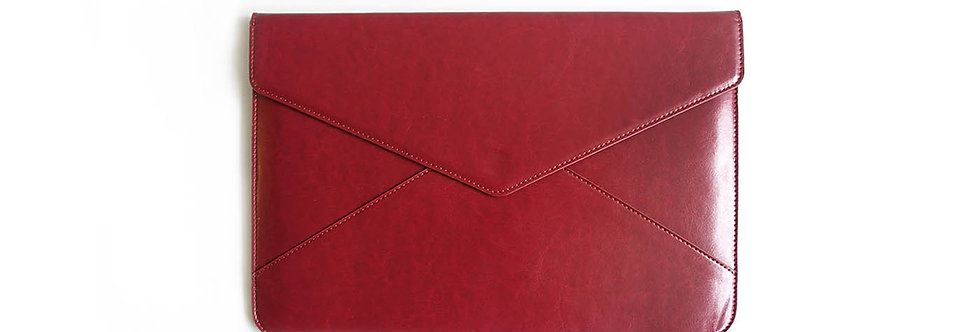 Wine Red Leather Laptop Case