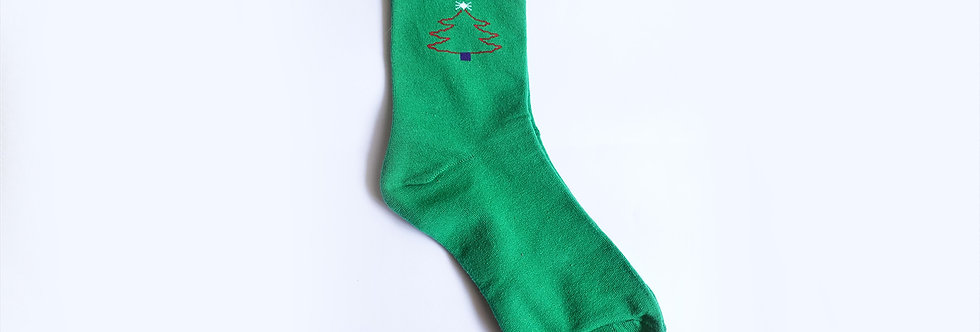 Gringe Green Christmas Tree Sock