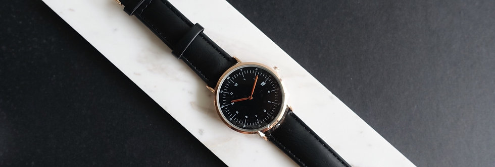 IWEARTUL Classic Black Face Black Leather Watch