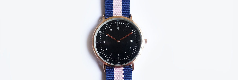 Classic IWEARTUL Black Face Pink Strap Watch