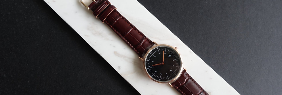 IWEARTUL Classic Black Face Brown Croc Leather Watch