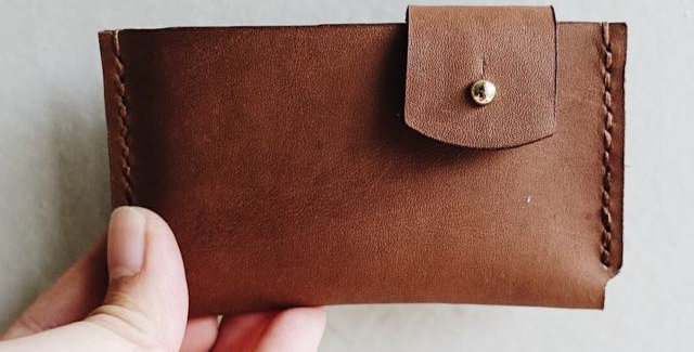 Slim Brown Cowhide Leather Cardholder