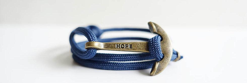 Navy Rope Brass Hope Anchor Bracelet