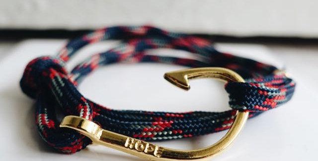 Atlantic Rope Gold Fish Hook Bracelet