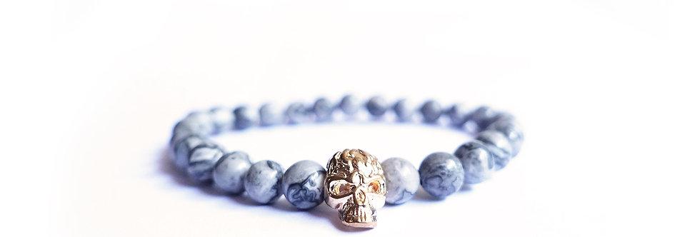 Black Marble Gold Skull Bead Bracelet