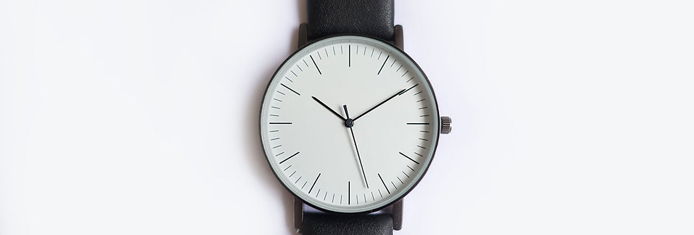 White Minimalist Black Strap Watch