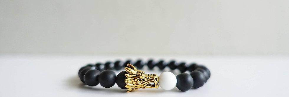 Dragon Head White Marble Bracelet