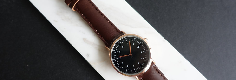 IWEARTUL Classic Black Face Brown Leather Watch