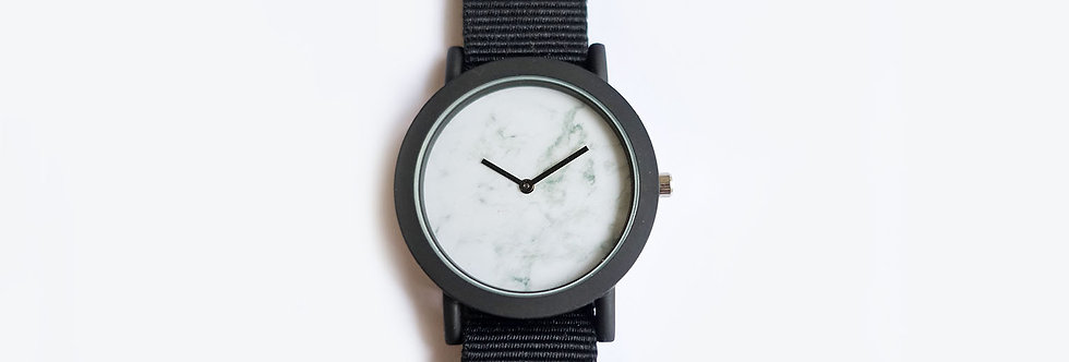 White Minimalist Marble Face Watch