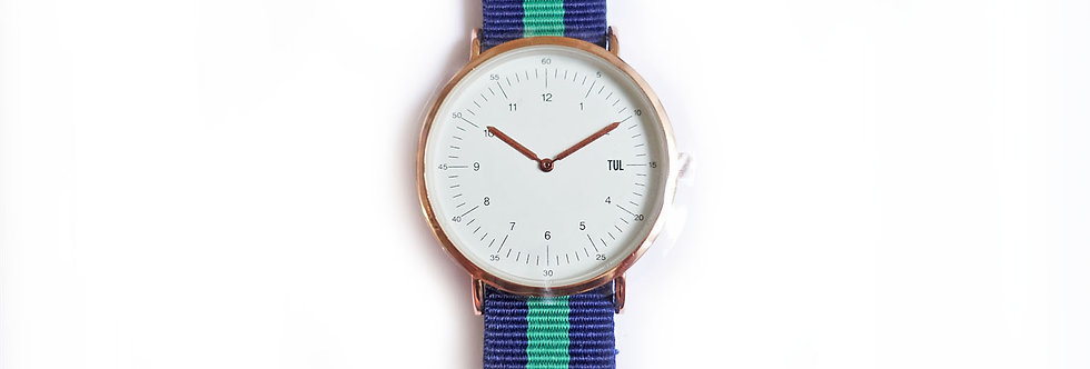 Classic IWEARTUL White Face Green Strap Watch