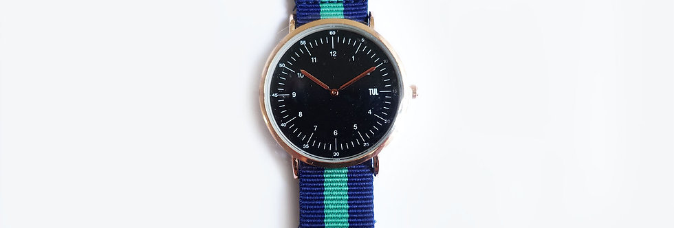 Classic IWEARTUL Black Face Green Strap Watch