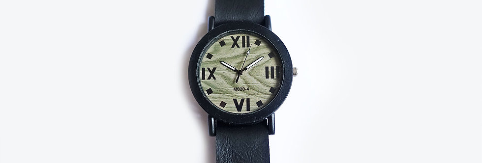 Grey Wood Face Black Leather Strap Watch