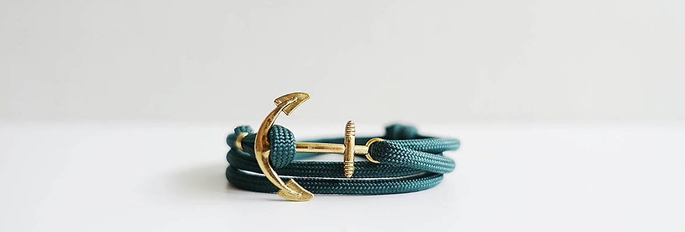 English Green Rope Brass Anchor