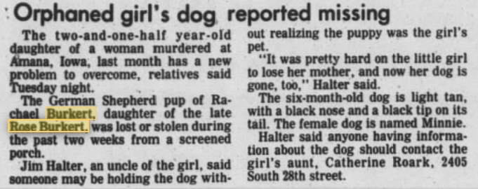 """Newspaper Article Clipping Titled """"Orphaned girl's dog reported missing."""""""