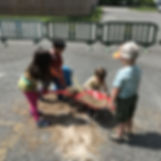 Children playing outside at recess.