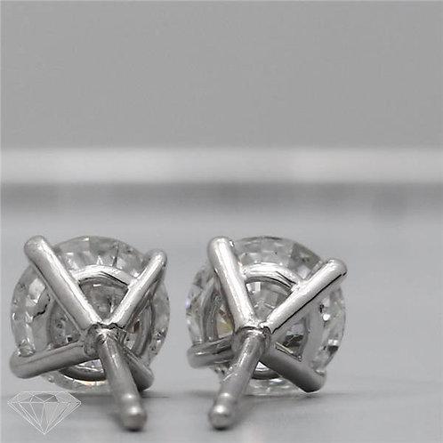 Round Shape 1.01 Carat H SI3 Diamond Earring Studs