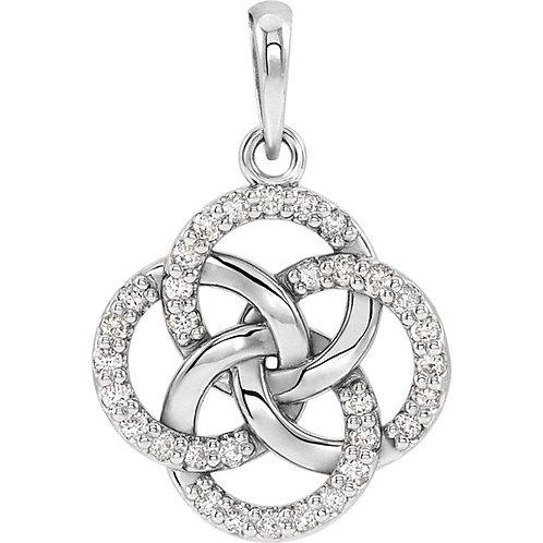 14 Karat Diamond Five-Fold Celtic Pendant