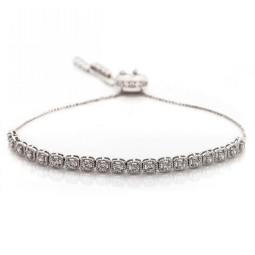 Diamond Braided Halo Pull-Tie Bracelet