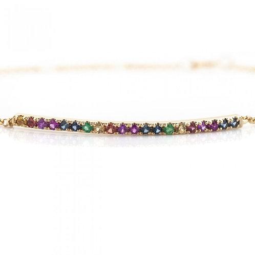 Rainbow Sapphire Bar & Chain Bracelet