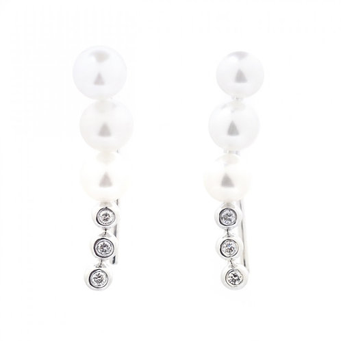 Pearl and Diamond Adjustable Drop Climber Earrings