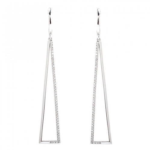 Diamond Negative Space Triangular Long Drop Earrings