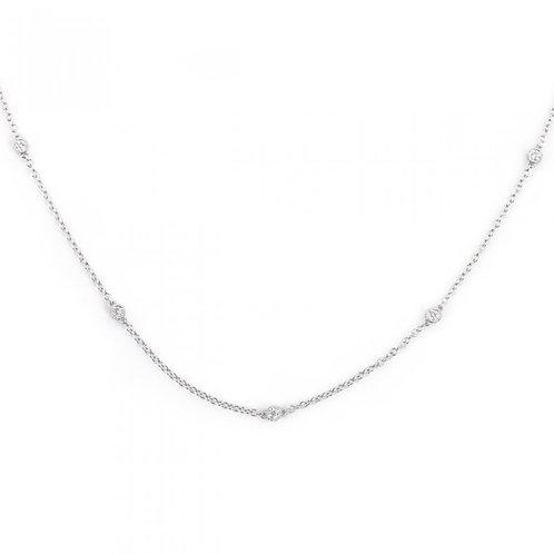 Single Stone Milgrain Diamonds By the Yard Necklace