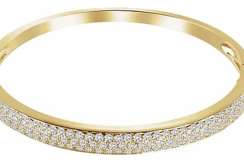 "14K Yellow 3 CTW Diamond Pave' Bangle 7"" Bracelet"