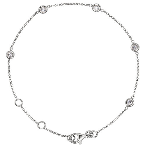 14K White 1/4 CTW Diamond Bezel-Set 5-Station Bracelet