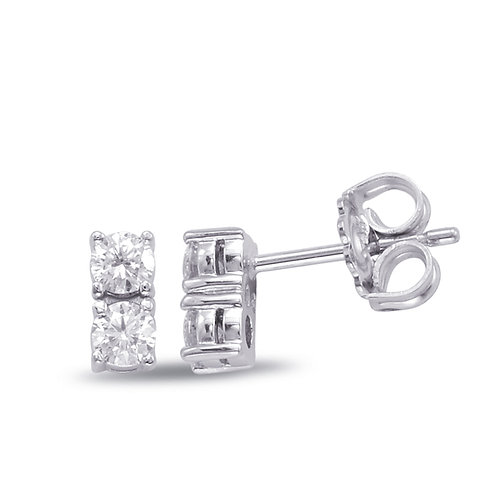 Two Stone Diamond Earrings