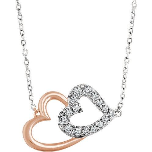 14K White & Rose Diamond Double Heart Necklace