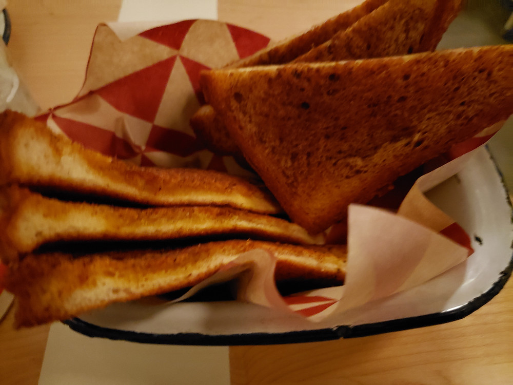 Parson's Chicken and fish texas toast on diner themed paper