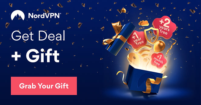 NordVPN Birthday Gift Affiliate Deal 2021 Blue Gold White Text