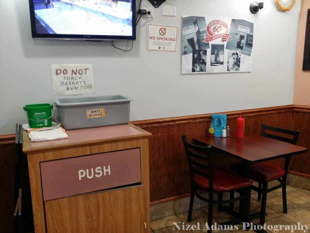 Jefferson Park Grill Interior Seating & Trash