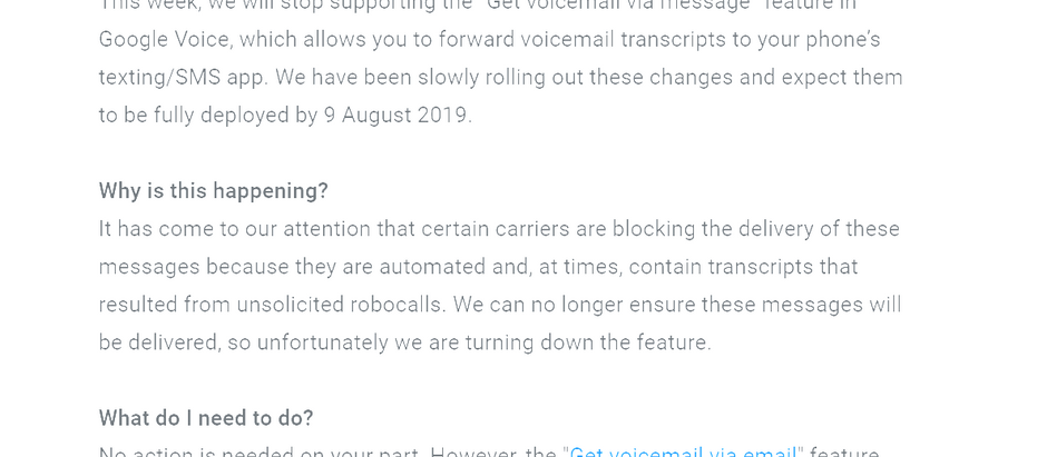 Google Ending Voicemail Transcripts via Text Message